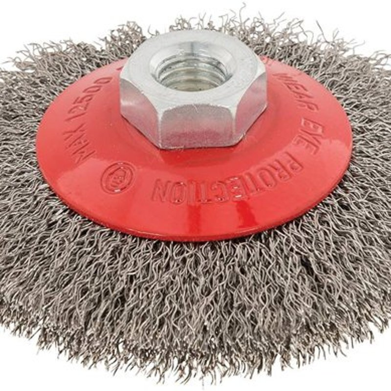 Wire brush with corrugated steel wire 100mm M14 from Silverline