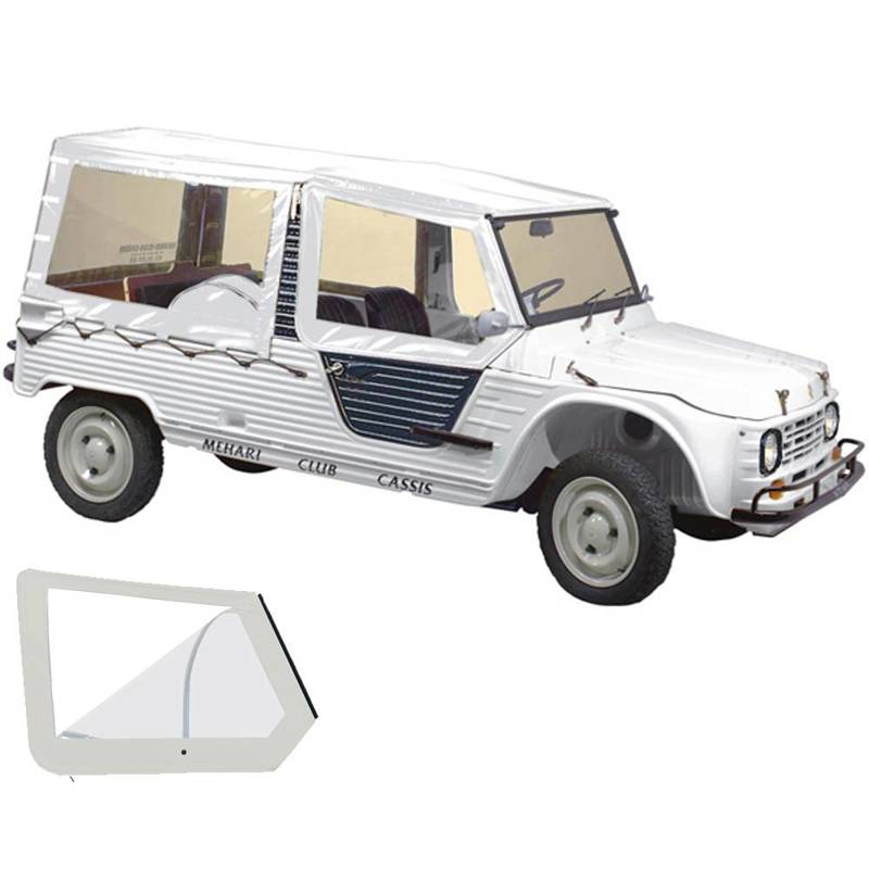 Soft top set with 4 straps and roll down window white - MEHARI